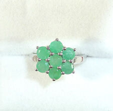 1.75ct Natural Emerald 925 Solid Sterling Silver Cluster Ring US (6 1/2) AU (N)
