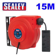 Sealey Tools CRM15 15m Extension Cable Reel Retractable System 2 x 230V Sockets