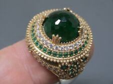 Turkish Handmade Jewelry 925 Sterling Silver Emerald Stone Ladies' Ring Sz 9