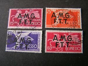 *ITALY, TRIESTE, SCOTT # E1-E4(4), COMPLETE 1948 SPECIAL DELIVERY OVPT ISS  USED