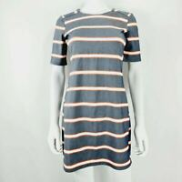 Oasis XS Navy White Red Stripe Dress Short Sleeve Round Neck