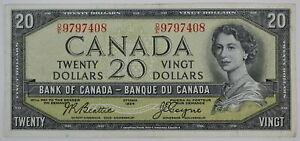 1954 BANK OF CANADA $20 DOLLAR D/E 9797408 DEVILS FACE BC-33b BEATTIE COYNE NOTE