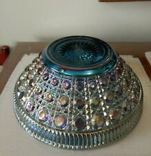Vintage Iridescent Blue Carnival Glass Large Round Fruit Bowl