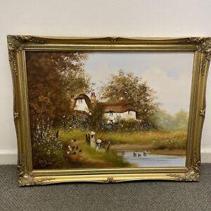 Les Parson Original Oil Painting on Canvas Landscape Girl with Dog Framed K12