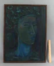 Large 1960 Original CHARLES LASSITER American Modernist Portrait Oil Painting NR