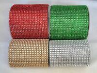 Diamante Mesh Embellishment - Crystal Christmas Cake Trim Red Green Gold Silver