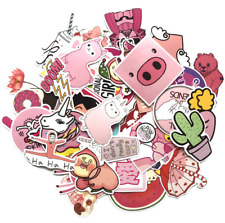 50pcs Pink Cartoon Stickers Girls Decals Skateboard Luggage Laptop Guitar Graffi