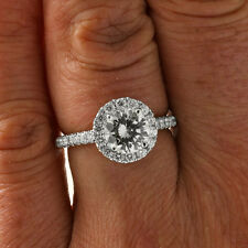 2.50CT Women's Round VS-F Halo Enhnaced Diamond Engagement Ring 18K White Gold