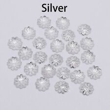 200pcs 7mm Silver Flower Petal Bead Caps Bulk End Spacer For DIY Jewelry Making
