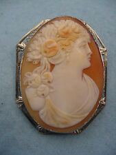 Vintage 14KT. Gold Carved Cameo Pin Necklace