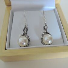 Sterling Silver Faux Pearl and Marcasite Drop Earrings
