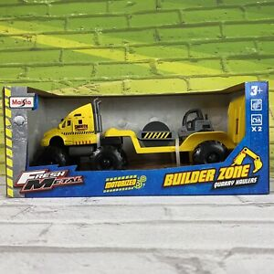 Maisto Fresh Metal Builder Zone Quarry Monster Truck With Steam Roller - Yellow