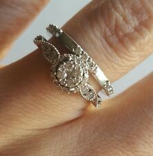 VINTAGE DIAMOND 14K WHITE GOLD ENGAGEMENT WEDDING RING BAND SET SIZE 5.5