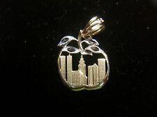 "14K YELLOW W/WHITE GOLD NEW YORK CITY ""APPLE"" PENDANT - TWIN TOWERS & EMIPRE"