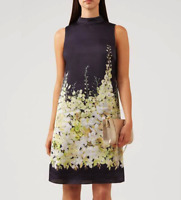 Hobbs Floral Satin Sleeveless Delilah Tunic Navy Wedding Racer Shift Dress