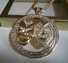 "Gold Finish Hip Hop Bling Happy & Sad Face Rapper Style Pendant w/30""  Chain"