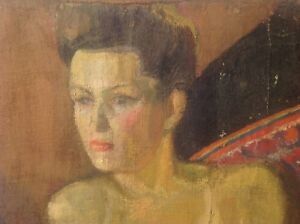Isabelle FERLAY (Lyon 1917) Les ARGONAUTES Grand Nu Féminin Odalisque Huile