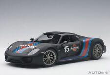 Autoart 77929 - 1/18 Porsche 918 Spyder Weissach Package - Matt Balck / Martini