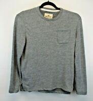 Hollister California Long Sleeve Men's Small Pullover Shirt Gray w/Pocket