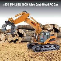 HuiNa 1570 1/14 2.4G 16CH Alloy Grab Wood Excavator Engineering RC Crawler Car