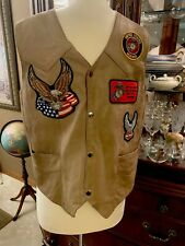 USMC Leather Vest Mens L Biker Motorcycle Marines HARLEY TWIN EAGLES PATCHES
