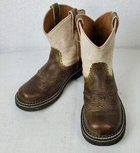 Ariat 4LR Women/Girls Sz 4 Brown/Pink Short Ankle Pull On Fat Boy Western Boots