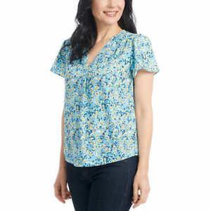 SALE! Hilary Radley Ladies' Printed V Neck Blouse Short Sleeve Comfort Fit F11