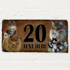 Personalised Norwegian Forest Cat Door House Slate Sign Name Number Plaque
