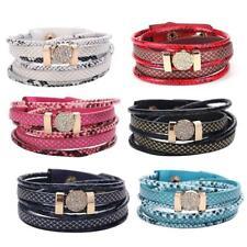 Snakeskin Pattern Bracelet Jewelry Unisex Multilayer Rhinestones Pu Leather
