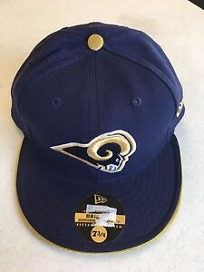 RETRO NFL NEW ERA 5950 ST. LOUIS RAMS ALL NAVY FLAT BRIM FITTED HAT FREE SHIP