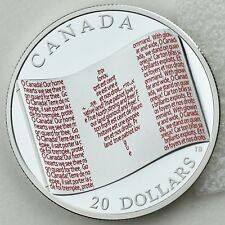 2018 $20 Canadian Flag 1 oz. Pure Silver Color Proof Coin with Micro-lettering
