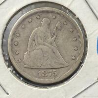 1875-S US 20C Twenty Cent Piece 90% Silver VG Collectible Coin #73120-2
