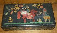 Vintage / Old Painted Black Wood Art Or School Pencil Box