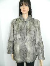 GENUINE GRAY SHEEP LAMB FUR COAT JACKET Sz.XS-S