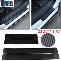 4x 3D Carbon Fiber Vinyl Decal Door Sill Step Scratch Protector Stickers JDM T