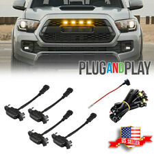 Smoked Lens Amber LED Front Grille Light For 16-up Toyota Tacoma w/TRD Pro Grill