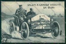 Torino Chieri Saluti a grande velocità auto REINCOLLATA cartolina QK1251