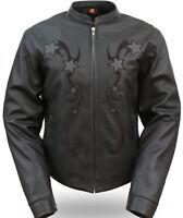 Womens Black Leather Motorcycle Jacket Reflective Stars Long Sleeve Biker Coat
