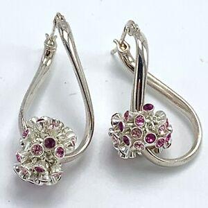 Swarovski Austrian Pink Purple Crystal Sterling Silver Earrings European Charm
