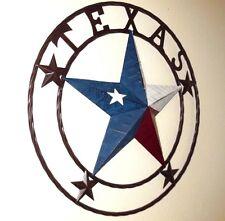 "24"" TEXAS LICENSE PLATE BARN LONE STAR RUSTY METAL WALL ARTWESTERN HOME DECOR"