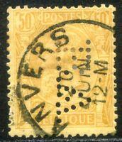 Belgio 1886 Effigie di Re Leopoldo I Unificato n. 50 usato - PERFIN (l825)