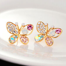 Fashion Women Chic Crystal Rhinestone Butterfly Ear Stud Earrings Jewelry Charm