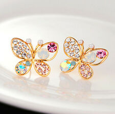 New 1 Pair Fashion Jewelry Charm Butterfly Crystal Gold Plated Ear Stud Earrings