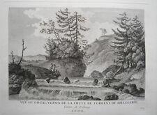 Jaun Bellegarde Wasserfall  Freiburg Schweiz  Kupferstich Zurlauben 1780 selten2