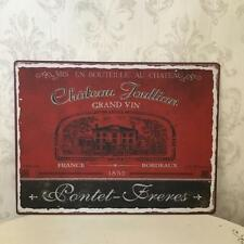 French Vintage Style Metal Sign RED WINE Wall Art Tin Plaque Gift for Wine Lover