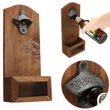 Wood Rustic Home Beer Barrel Keg Wall Mounted Bottle Cap Opener with Cap Catcher