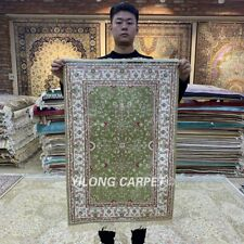YILONG 2'x3' Handmade Silk Area Rug Red Green Handcraft Bedroom Carpet HF077B