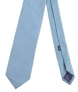 Charvet Handmade in FRANCE Teal Blue & Green Satin Geometric Silk Tie