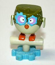 """Mini Owl Figurine on Bird Stand Cog Eyes Cake Topper Toy 1 3/4"""" Tall Plastic"""