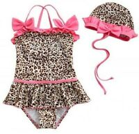 Baby Toddler Girls Kids Cute Swimwear Leopard Bikini Swimsuit + Hat 2-6T